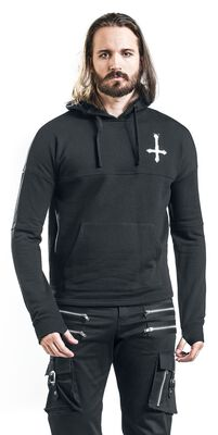 Black Hooded Shirt with Print on Chest and Back