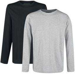 Dubbelpack långärmade tröjor grå och svart med rund halsringning