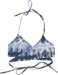 Blå/vit batik bikiniöverdel i omlottstil med tryck
