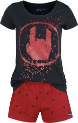Svart/röd pyjamas med rockhand-tryck