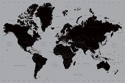 Världskarta svart/silver