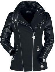 Black Gothic Biker Style Jacket with Deocorative Eyelets