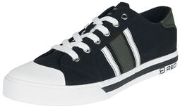 Svarta sneakers med gröna och vita detaljer