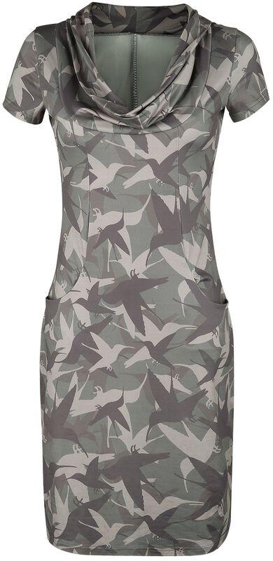 Olivfärgad klänning med fågeltryck och vattenfallskrage