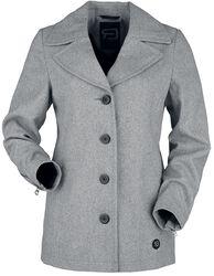 Kort grå rock med knappar