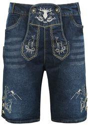 Korta jeans-lederhosen