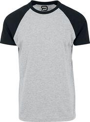 Gråmelerad T-shirt med svarta ärmar