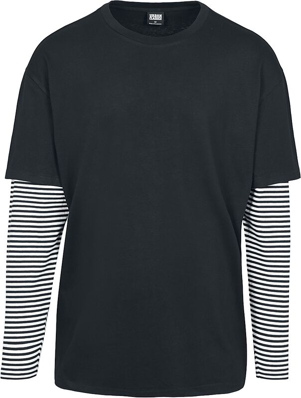Oversized Double Layer Striped LS Tee