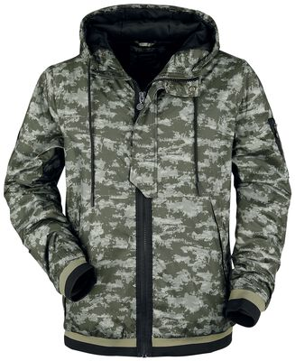 Camouflagejacka med huva