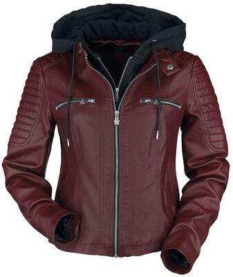 Röd jacka i läderimitation med huva