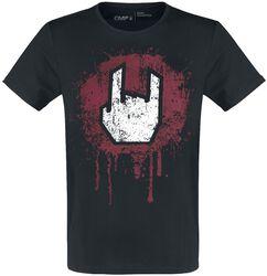 Svart T-shirt med rockhand-tryck