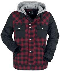 schwarz/rot karierte Jacke mit schwarzen Ärmeln