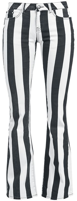 Grace - svart/vit-randiga byxor