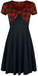 Bow Tie Dress with Check Pattern Rock Rebel