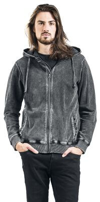 Grey Hooded Jacket with Wash and Studs