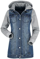 Denim Jacket with Sweat Sleeves and Hood