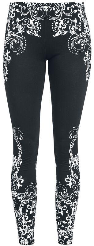 Svarta leggings med detaljerat tryck