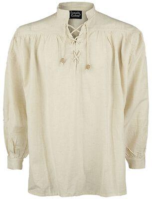 Medeltida skjorta med snörning och ståkrage