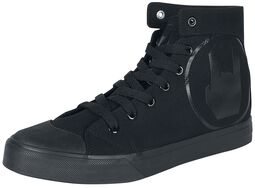 Svarta sneakers med rockhand-tryck