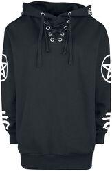 Black Hooded Shirt with Symbol Print