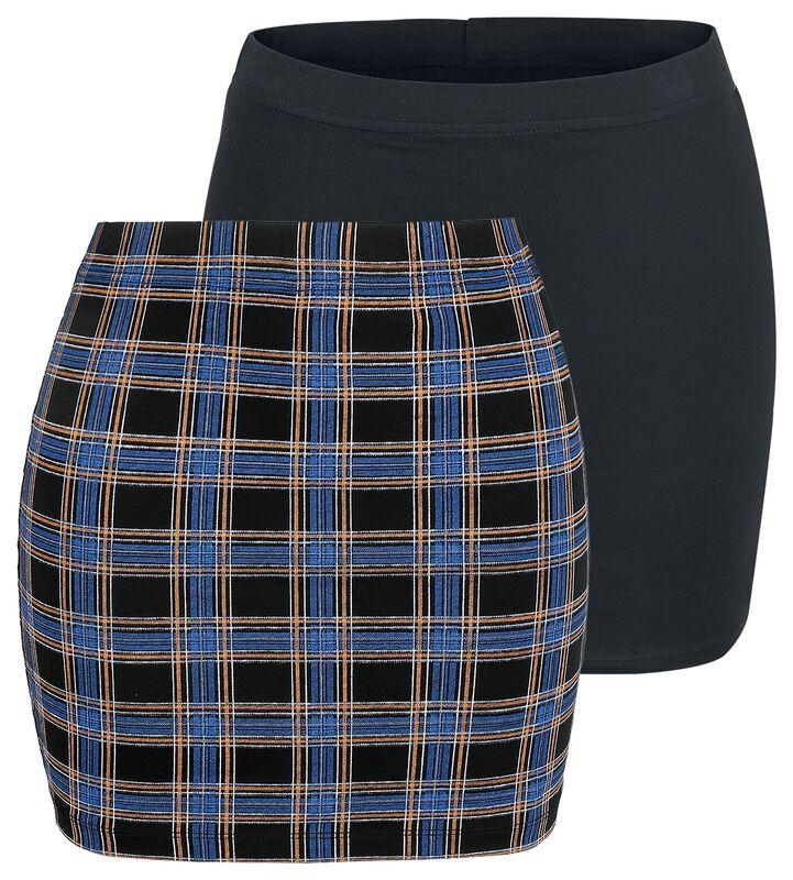 Korta kjolar i svart och rutmönster med midjeresår