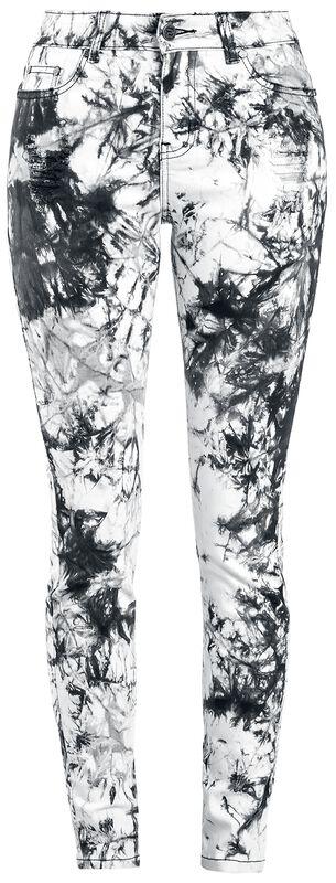 Megan - Schwarz/weiße Jeans im Batik-Look