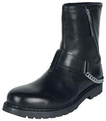 Svarta boots med dragkedjor, dekorativa band och kedja