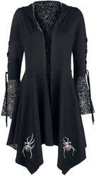 Gothicana X Anne Stokes - Svart cardigan med luva, snörning och utsvängda ärmar