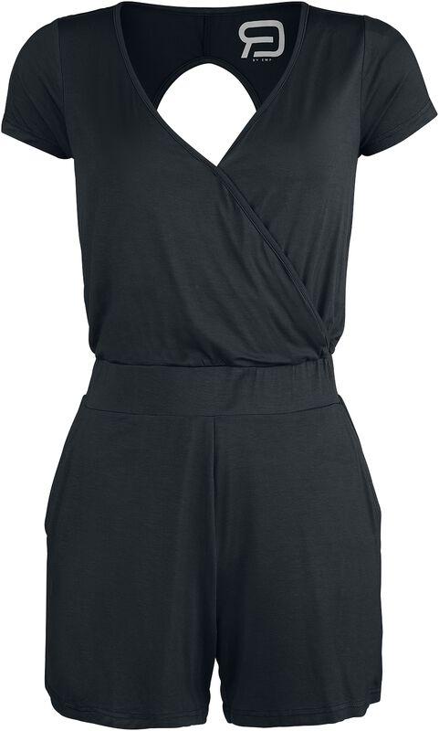Kort svart overall med bak-cutout
