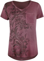 Bordeaux T-shirt with Rhinestones and Print