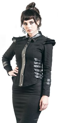 Jacket with outher fake leather details