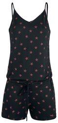 Kort svart overall med röda stjärnor