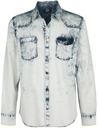 blaues Jeanshemd mit Waschung und Brusttaschen