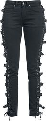 Svarta jeans med snörning och spännen