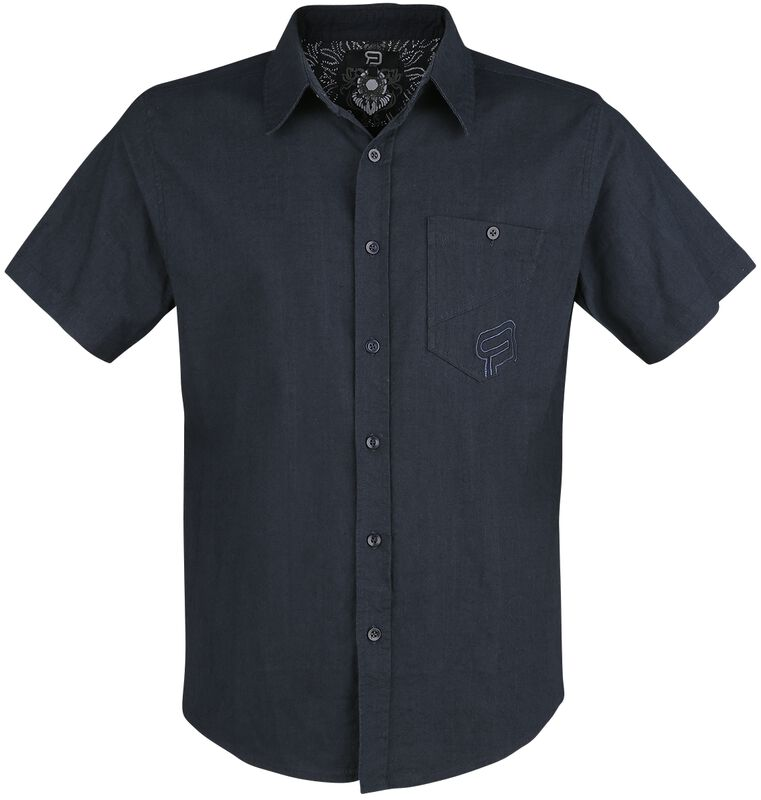 Mörkblå kortärmad skjorta med bröstficka och brodyr