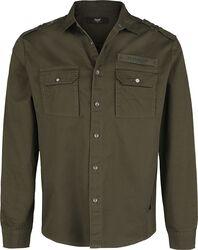 Olivfärgad skjorta i militärstil med bröstfickor