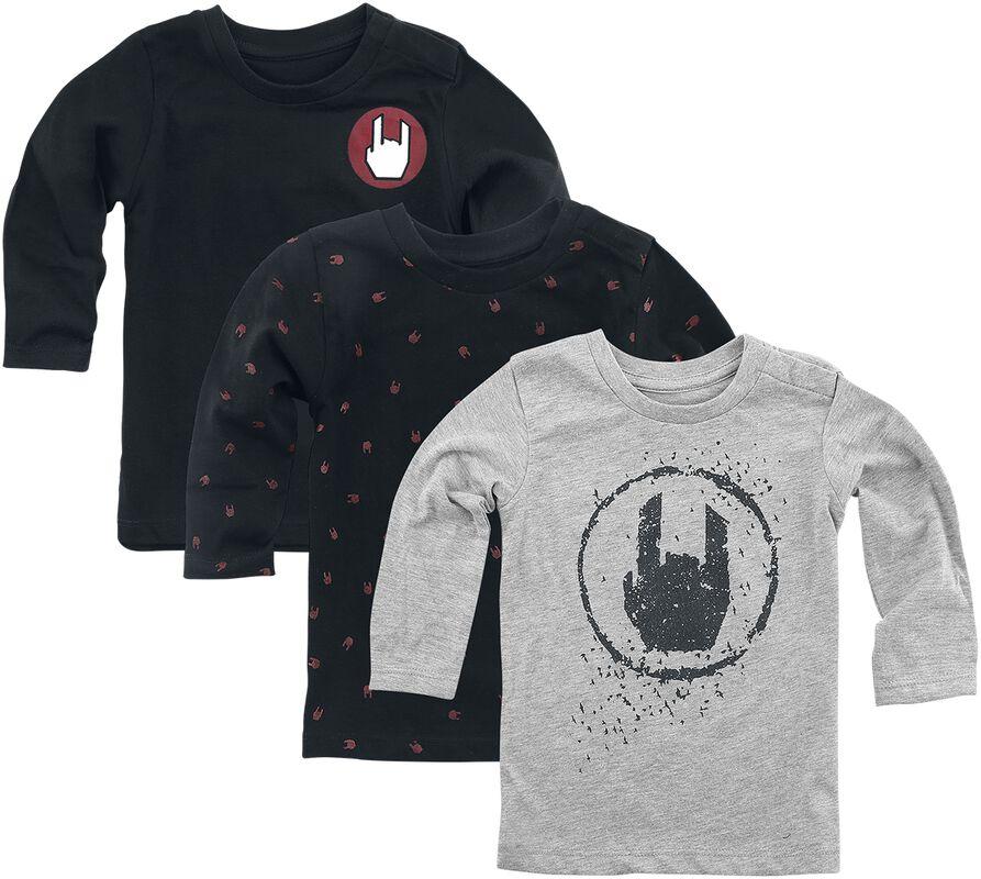 3-pack grå/svarta långärmade tröjor