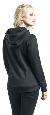 Black Hooded Jumper with Patches