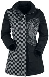 Svart/grå jacka med nitar och tryck