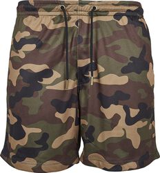 Camo mesh-shorts