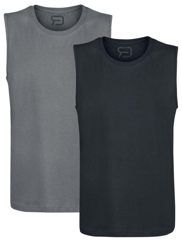 Dubbelpack svart och grått linne