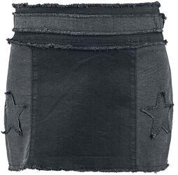 Rock Rebel - Kort jeanskjol med patchar