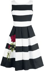 Aurora Striped Two Tone Dress Embroidery Rose