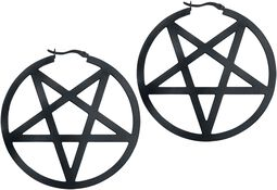 Black Pentagram Hoops