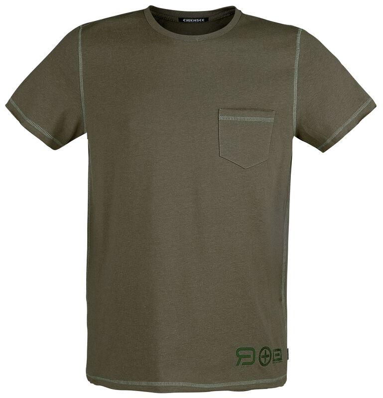 Olives T-Shirt mit Brusttasche und Rundhalsausschnitt