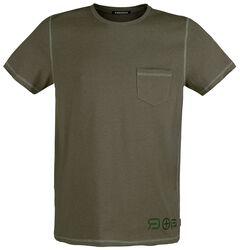 Olivfärgad T-shirt med bröstficka och rund halsringning