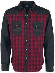 Svart/röd-rutig skjorta med bröstfickor