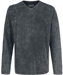 Långärmad tröja med v-ringning och tvätt