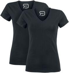 Två svarta T-shirts med v-ringning
