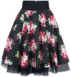Swing Skirt Black/Rose Polka